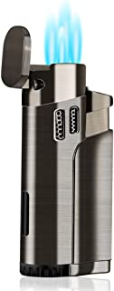 Torch Cigar Lighter Refillable Fuel Butane Torch Lighters Quad 4 Jet Lighter Butane Cigar Lighters with Punch Gas Fluid Torch Butane Lighters-Butane NOT Included (Black)