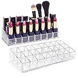 CAILI Scatola Cosmetica per Il Rossetto,24 Posti Lip Gloss Makeup Organizzatore,Porta Cosmetici in Scatola Portaoggetti Trasparente Stoccaggio Contenitore Organizzare per Cosmetici (2 PCS)