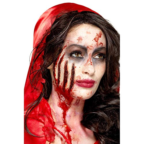 NET TOYS Latex-Make-up Kratzwunde bestehend aus Applikation & Kleber | Rot | Gruselige...