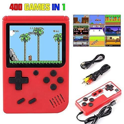 Moshbu Handheld-Spielekonsole - Mini-Retro-Spielekonsole mit 400 klassischen Spielen und 3-Zoll-Farbbildschirmunterstützung und Unterstützung für das Spielen im Fernsehen und Zwei-Spieler-Spiele