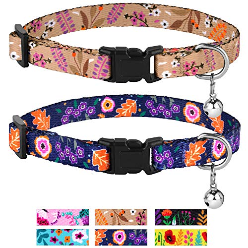 CollarDirect Cat Collar with Bell Floral Pattern 2 Pack Set Flower Adjustable...
