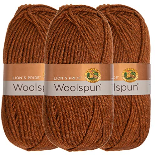 Lion Brand (3 Pack) Woolspun Acrylic & Wool Soft Mahogany Brown Yarn for Knitting Crocheting Bulky #5