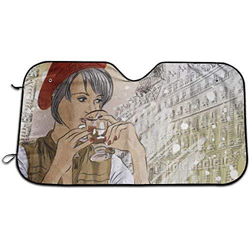 Auto Windschutzscheibe Schattenspender,Brown Vintage Schönes Mädchen In Der Straße Cafe Paris Trinken Kaffee 1960Er Jahre Tasse Tragbare Auto Windschutzscheibe Sonnenschutz,Fahrzeug Kühl Halten S