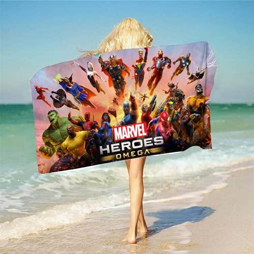 Aatensou Toalla de playa infantil de Los Vengadores, 3D, Anime, poliéster, absorbente, de secado rápido, (S1,80 x 160 cm)