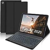 SENGBIRCH Funda con Teclado para Samsung Galaxy Tab A7 10.4'2020 (SM-T505/T500/T507),Teclado Español Retroiluminado con Carcasa Ultra Delgado con Auto Sueño/Estela, Negro