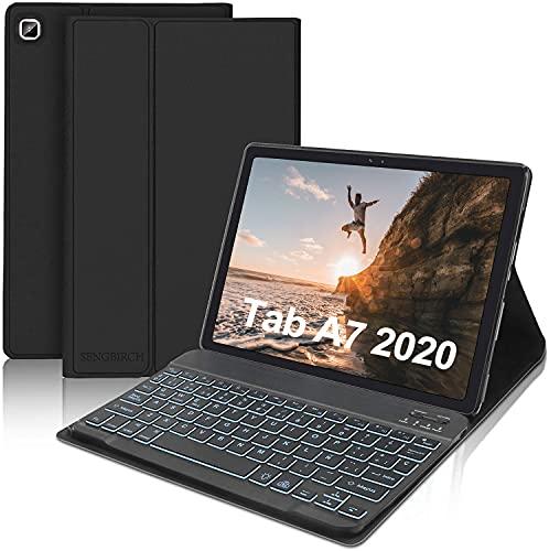 """SENGBIRCH Funda con Teclado para Samsung Galaxy Tab A7 10.4""""2020 (SM-T505/T500/T507),Teclado Español Retroiluminado con Carcasa Ultra Delgado con Auto Sueño/Estela, Negro"""