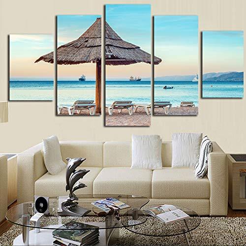 YDBDB canvas muurkunst foto's frame wooncultuur kamerposter 5 stuks tropische zone hout paraplu strand landschap Hd gedrukt schilderij ohne gerahmt 30 x 40 30 x 60 30 x 80 cm.