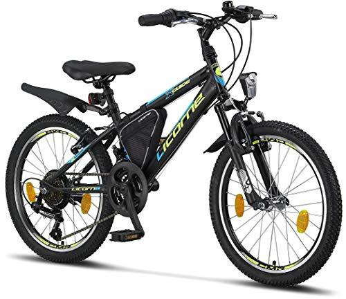 Licorne Bike Guide Premium Mountainbike in 20 Zoll - Fahrrad für Mädchen, Jungen, Herren und Damen - Shimano 18 Gang-Schaltung - Schwarz/Blau/Lime