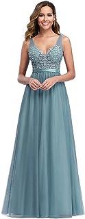 A-línea Vestido de Noche Apliques Tul Escote Cuello en V para Mujer 00930