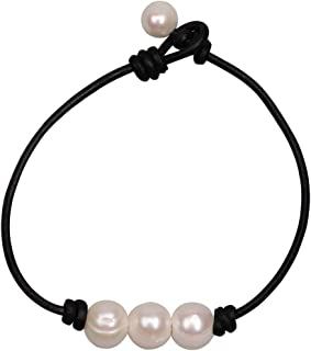 Three Pearl Bracelet for Women Cultured Freshwater Pearls Leather Jewelry Handmade Knot Bangles