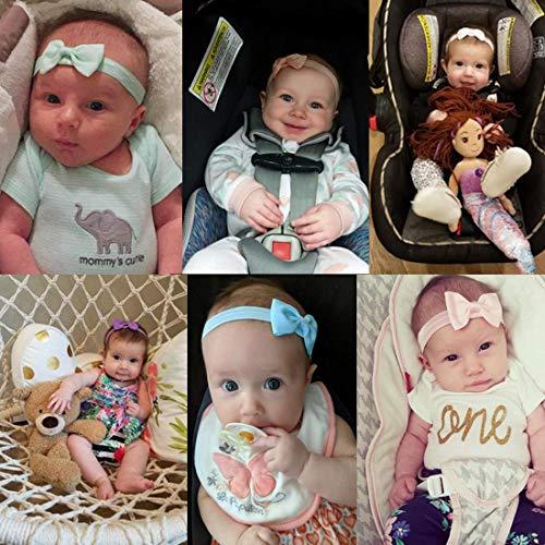 JOYOYO 20 Pcs Baby Headbands and Bows Elastic Headbands for Baby 2.75 Inch Ribbon Bows Baby Nylon Headbands Headwears for Babies, Toddlers