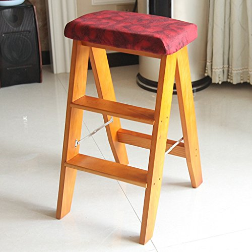 Massivholzklapptrittleiter Erwachsenen Küche Dual-Use-Stuhl Stabilität und Sicherheit (Color : Light Walnut Color)