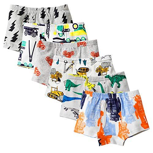 Kidear Unterwäsche, weich, für Kinder, aus Baumwolle, Unterhose, verschiedene Unterhosen, für kleine Jungen (6 Stück) Gr. 3-4 Jahre, Style7