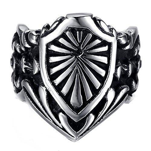 HAMANY Joyería Anillo de Hombre,Acero Inoxidable Las Templarios Escudo,Negro Plata,El Tamaño 17