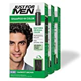 Just For Men Shampoo-In Color (Formerly Original Formula), Gray Hair Coloring for Men - Darkest Brown, H-50, Pack of 3 (Packaging May Vary)