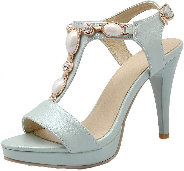 WeiPoot Women's Pu Buckle Open-Toe High-Heels Solid Sandals, bluee, 41
