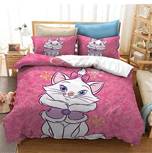 Enhome Duvet Cover Set 3 Pieces for Single Double King Size Bed, Children Kids Boys Girls Microfiber 3D Printed Bedding Set Duvet Set with Quilt Case Pillowcases (Disney Marie Cat 8,135x200cm)
