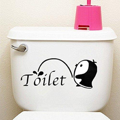 Ungfu Mall Little Penguin Sticker pour abattant de WC showerroom Home Décor mural de salle de bain en vinyle Art
