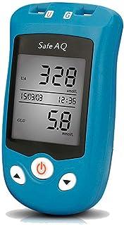 FJLOVE Medidor de glucosa en Sangre y Medidor de ácido úrico Sistema con 50 Tiras Prueba sin código,50 x Tira Prueba de ácido úrico,100 lancetas Prueba Diabetes mmol/L