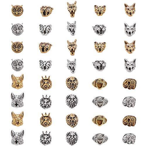 SUNNYCLUE 1 Caja 40 Piezas de Cuentas Espaciadoras de Animales, Cuentas Espaciadoras Sueltas Tibetanas de Animales, León, Lobo, Dragón, Leopardo, Tigre, Búho, Elefante, Oso, Abalorios Espaciadores
