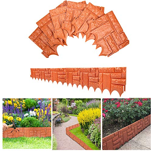 VAlinks Garden Plastic Fence Edging, 6 Pcs Garden Decorative Edging Fence, Faux Brick Landscape Fencing for Patios Gardens Landscape Walkways 26x23cm (Orange)