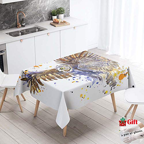 Enhome Manteles de Poliéster Rectangular Mantel Rectangular Impermeable Antimanchas Nórdico Moderno Mantel Decorativo para mesas rectangulares Cocina Comedor (Búho Sabio,100x140cm)
