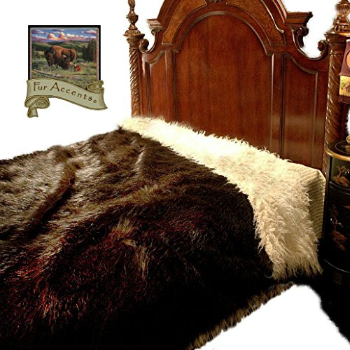 Buffalo Throw Blanket, Extraordinary Faux Fur, Rich Dark Brown Shag, Reversible, Bedspread, Extraordinary Quality, Super Thick, Warm, Cozy, Hand Made in The USA by Fur Accents (XL King 110x120)