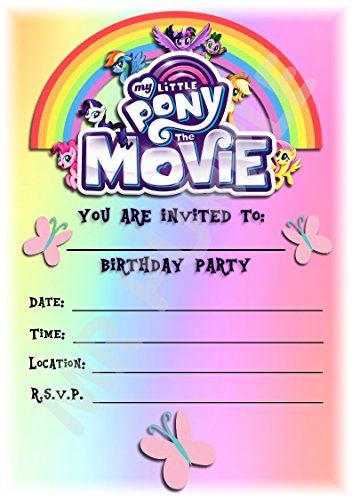 My Little Pony The Movie Geburtstag Party lädt – Rainbow Hochformat Design – Party Supplies/Zubehör (12 Stück A5 Einladungen) WITHOUT Envelopes
