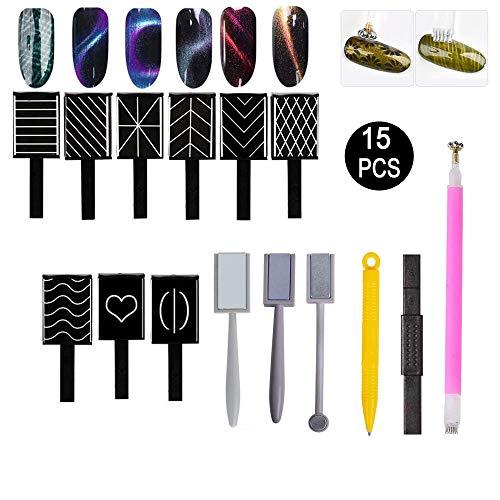 15 Stück Nail Magnet Tool, Nagel Magnet Nail Art Magnet, 3D Magnet Stick für Nagellack Gel Magische Nagel Werkzeug, Magnetische Katze Eye Pen Zeichnung Vertikalen Stick, Nagelkunst-Magnet-Stift-Set