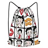 Betty Boop School Sports Bag Drawstring Backpack Waterproof Gym Big School Bag Daily Rucksack Travel Swimming Bag Children Girls Boys Students Drawstring Strap Pack