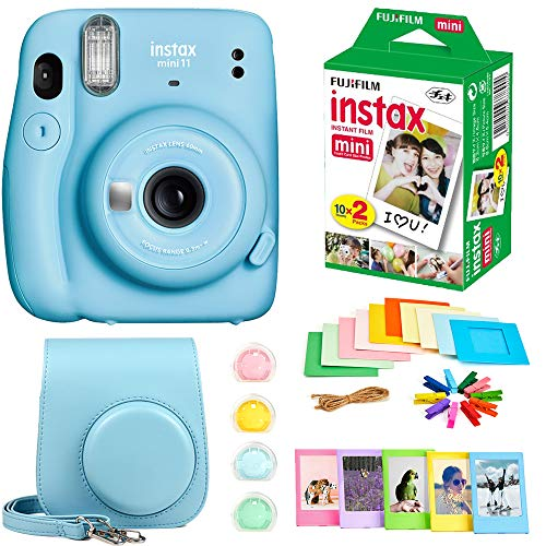Fujifilm Instax Mini 11 Instant Camera + Instax Mini Twin Pack Film + Hanging Frames + Plastic Frames + Case + Close Up Filters - All Inclusive Bundle! (Sky Blue)