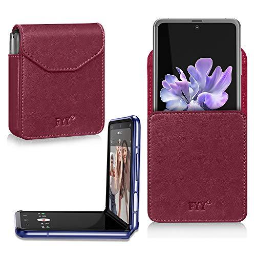 FYY Galaxy Z Flip Hülle, Handyhülle für Samsung Galaxy Z Flip Klapphülle,PU Lederhülle mit Magnetverschluss für Samsung Z Flip Tasche-Weinrot (2020)