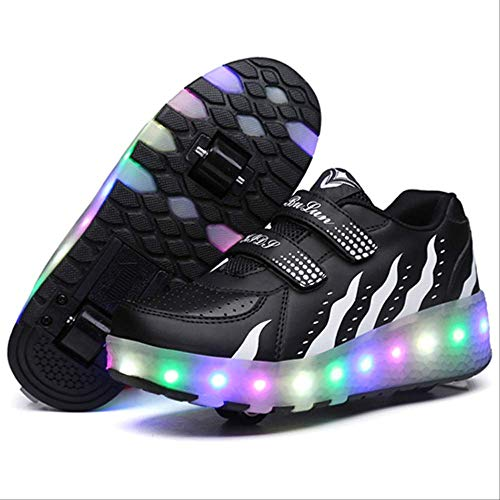 STBB Rollschuhe Doppel Roller Skate Schuhe Frauen Männer Bunt Blinkende Automatische Leuchtende Pulley Roller Schuhe Kinder Leuchtende Sneakers 35 Rosa