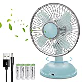 """K18 USB Desk Fan, 5"""" Ultra Quiet 2 Speed Portable Small Mini Desktop Personal Table Cooling Fan for Office Computer Laptop Travel School Kids Outdoor Camping Beach Powered by USB/AA Batteries - Blue"""