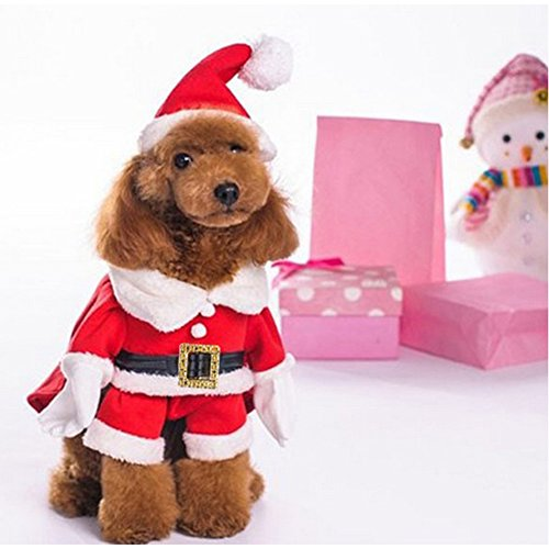 NACOCO Pet Christmas Costumes Dog Suit with Cap Santa Claus Suit Dog Hoodies Cat Xmas Costumes (Red, M)