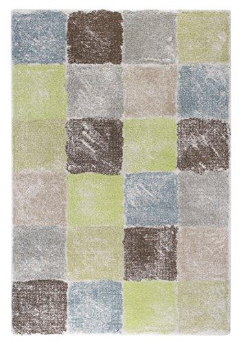Andiamo Design Lime Karo patroon geweven tapijt tapijt, polypropyleen, turquoise/groen, 133 x 190 x 0,7 cm