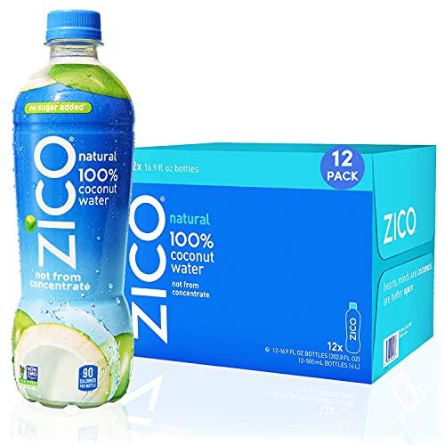 Zico Beverages Natural 100% Coconut Water Drink, No Sugar Added Gluten Free, 16.9 Fl Oz(Pack of 12)