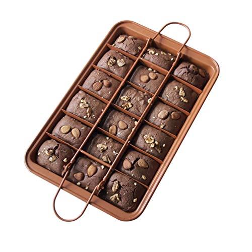 PengGengA Brownie Backform mit Trennwänden & Hebeboden Eckiges Kuchenblech Verstellbar Antihaft Backen Formen (Style#2, 31 * 20 * 4.9cm)