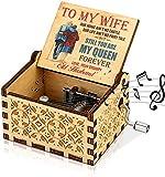 LINGSFIRE Caja de música de Madera, Regalo para Esposa, Manivela de Mano, caja de música Antigua, Tallada Vintage,...