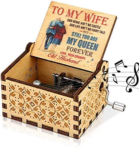 "LINGSFIRE Caja de música de Madera, Regalo para Esposa, Manivela de Mano, caja de música Antigua, Tallada Vintage, caja de Música Creativa para tu Querida Esposa, Navidad, ""You Are My Sunshine"""