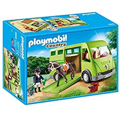 Play fun for little horse fans: PLAYMOBIL Horse Box for 2 horses, rider and other accessories for detailed re-enactments 1 figure, 1 horse, cabin space for 2 figures, removable roof, fold-out ramp, fold-out rear doors, trunk for storage space, and mu...