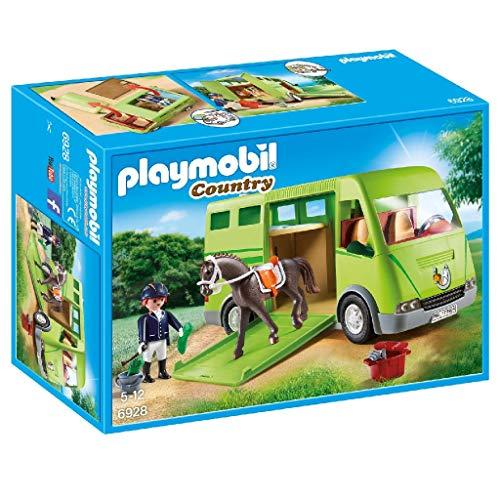 PLAYMOBIL Country Transporte de Caballo con Holstein y Jinete en traje de Adiestramiento, A partir de 5 años (6928)