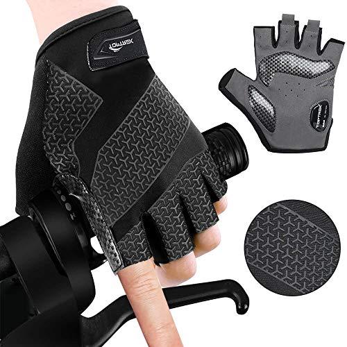 toptrek Fahrradhandschuhe Sommer Halbfinger SBR+Gel MTB Handschuhe, Anti-Rutsch Stoßdämpfung Radhandschuhe Männer, Sporthandschuhe für Herren & Damen (L)