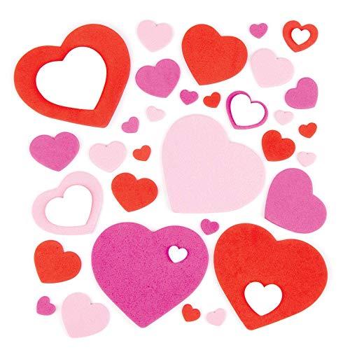 Baker Ross- Corazones de Espuma Autoadhesivos (Pack de 15). Decoraciones y Adornos para Manualidades y Artesanía para el Día de San Valentín o el Día de la Madre