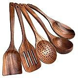 Utensilios de cocina de madera, teca utensilios de cocina antiadherente utensilios de cocina cuchara de madera, teca natural 100% hecho a mano, sin laca de cocina utensilios de madera set 5