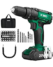 """KIMO Cordless Drill Set, 20V Cordless Drill with Battery and Charger, 350 In-lb Torque, 3/8"""" Keyless Chuck, 21+1+1 Clutch, Variable Speed, 46pcs Accessories, Power Drill Driver for Drilling Wood Metal"""