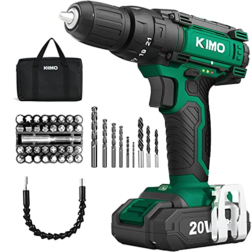 Product Image of the KIMO Cordless Drill Set, 20V Cordless Drill with Battery and Charger, 350 In-lb Torque, 3/8' Keyless Chuck, 21+1+1 Clutch, Variable Speed, 46pcs Accessories, Power Drill Driver for Drilling Wood Metal