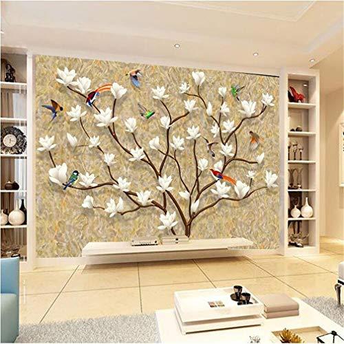 Reliëfbehang uit het zeelandschap, vliesbehang in Scandinavische stijl, vliesbehang, 3D-behang, onhandig, personaliseerbaar met bloem en vogel, TV-achtergrond/sofa woonkamer 200 x 140 cm.