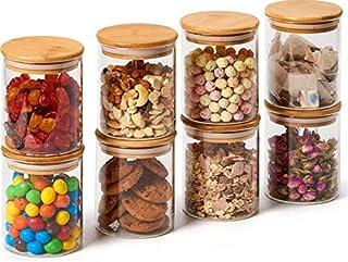 Annfly Lot de 8 bocaux à épices en verre avec couvercles hermétiques en bambou et étiquettes 450 ml