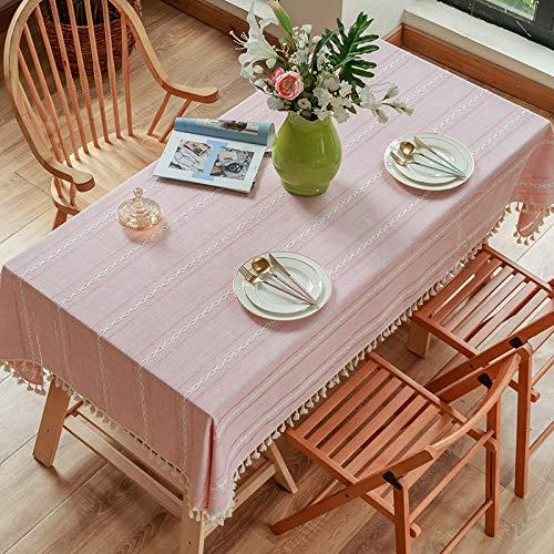 ZXCN Manteles de Mesa Rectangular Efecto para Cocina Resistente Al Desgaste de Lino de Algodón para Salón Cocina Comedor Decoración de Mesa Un Rosa 130×180cm